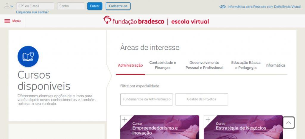 Site da Escola Virtual da Fundação Bradesco