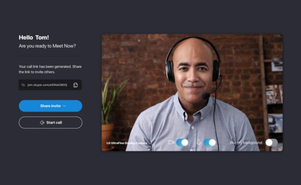 Chamada por vídeo no Skype